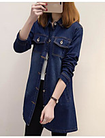 Women's Going out Casual/Daily Vintage Street chic Spring Fall Denim Jacket,Solid Shirt Collar Long Sleeve Long Others
