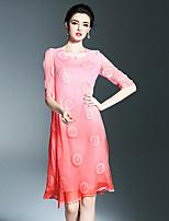 Largo Fodero Vestito Da donna-Altro Appuntamento Per uscire Semplice Sofisticato A pois Ricamato Colore graduale e sfumato Rotonda Medio