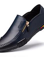 Для мужчин Кеды Удобная обувь Кожа Весна Повседневный Черный Коричневый Синий На плоской подошве