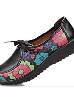 Women's Sneakers Comfort PU Spring Casual Burgundy Screen Color Black Flat