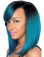 Medium Black/Blue Ombre Side Part no Bangs Full Synthetic Wig