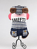 Dog Clothes/Jumpsuit Dog Clothes Casual/Daily Keep Warm Plaid/Check Blushing Pink Blue Yellow