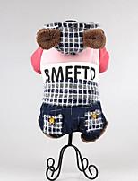 Chien Combinaison-pantalon Vêtements pour Chien Décontracté / Quotidien Garder au chaud Tartan Jaune Bleu Rose