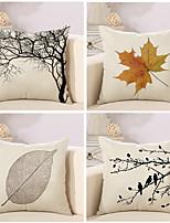 4 pcs Coton/Lin Housse de coussin Taie d'oreiller,arbres/Feuilles Nouveauté ClassiqueClassique Rétro Traditionnel/Classique Euro
