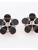 Euramerican Fashionable Sweet  Flower Rhinestone Black Stud Earrings  Lady  Daily Stud  Earrings Gift Jewelry