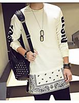 Men's Daily Sweatshirt Solid Print Round Neck Micro-elastic Cotton Long Sleeve Spring