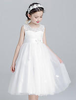 Ball Gown Tea-length Flower Girl Dress - Cotton Lace Tulle Jewel with Bow(s) Flower(s) Pearl Detailing Sash / Ribbon