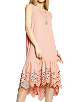 Women's Plus Size Work Party Vintage Loose Dress,Solid Round Neck Asymmetrical Sleeveless Cotton Polyester Summer High Rise Micro-elastic