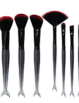 7pcs Double Fish Tail Makeup Brush Set Blush Brush Eyeshadow Eyeliner Brush Eyelash Brush dyeing Brush Powder Brush Sponge Applicator Synthetic Hair