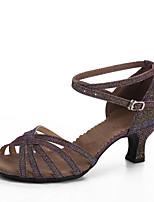 Персонализируемая Для женщин Латина На каблуках Для закрытой площадки Каблуки на заказ Темно-лиловый 5 - 6,8 см