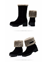 Women's Boots Comfort Real Leather PU Winter Casual Comfort Khaki Black Flat