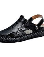 Men's Sandals Light Soles PU Summer Casual Light Soles Split Joint Flat Heel Khaki Light Brown Black Flat