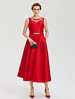 TS Couture Party Formal Kleid - Offener Rücken Elegant A-Linie Schmuck Tee-Länge Satin mitStrass Kristall Schleife(n) Taschen Schärpe /