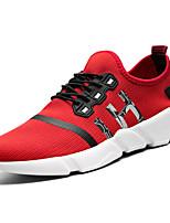 Men's Athletic Shoes PU Spring Fall Walking Split Joint Flat Heel Black Gray Ruby 2in-2 3/4in