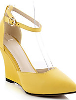 Women's Heels PU Summer White Black Yellow Flat