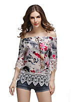 Women's Casual/Daily Beach Holiday Simple Cute Summer Blouse,Floral Off Shoulder ½ Length Sleeve Polyester Sheer