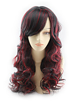 Hot Fashion Wigs Black Grades Wine Red Wigs Make Face Long Curls 22inch