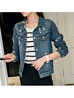 Women's Going out Casual/Daily Simple Street chic Spring Summer Denim Jacket,Solid Print V Neck Long Sleeve Regular Cotton