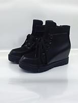 Для женщин Ботинки Удобная обувь ПВХ Весна Осень Повседневные Удобная обувь Шнуровка На плоской подошве Черный На плоской подошве