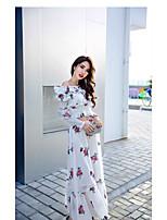 Feminino balanço Vestido,Para Noite Casual Sensual Floral Decote Canoa Longo Manga Longa Algodão Primavera Verão Cintura Alta