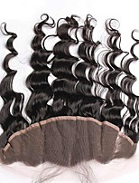 Natural Color Loose Wave Brazilian Virgin Hair Lace Frontal Closure 13x4 inches