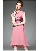Gaine Robe Femme QuotidienBroderie Mao Mi-long Manches Courtes Polyester Eté Taille Haute Micro-élastique Fin