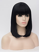 Cosplay Wigs Black Long Hair Qi Liu Hai Xiu Face Wig 16inch