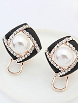 Stud Earrings Women's  And  Girls' Euramerican Fashion and Fresh Elegant Rhinestone Pearl Flowers  Daily Party Clip Earrings Movie Jewelry Gift