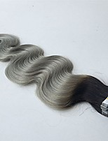 Tape In Hair Extensions 20pcs Ombre Grey Silver Seamless Skin Weft Remy Human Hair  14-24in Body Wave Human Hair Extensions