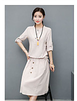Women's Casual/Daily Vintage Shirt Skirt Suits,Solid Round Neck ½ Length Sleeve