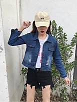 Women's Going out Casual/Daily Simple Street chic Spring Denim Jacket,Letter Shirt Collar Long Sleeve Short Others
