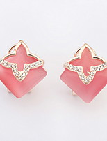 Bohemian  Adorable  Elegant  Rhinestones  Opals  Square  Stud  Earrings  Lady  Party Earrings  Gift Jewelry