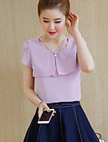Women's Going out Cute Blouse,Solid U Neck Short Sleeve Others