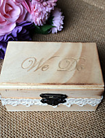 Wood we do burn the country effect rectangle ring box - original wood color