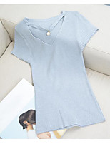 Women's Casual/Daily Short Pullover,Solid V Neck Short Sleeve Faux Fur Spring Thin Micro-elastic