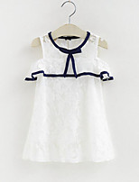 Girl's Striped Bowknot Lace Dress,Polyester Summer Sleeveless