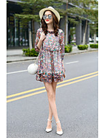 MMLJ Women's Going out Casual/Daily Cute Loose DressPrint Stand Mini  Sleeve Silk Spring Summer High Rise Inelastic Thin