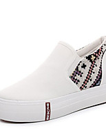 Для женщин Мокасины и Свитер Удобная обувь Полотно Ткань Весна Повседневные Удобная обувь Белый Черный На плоской подошве