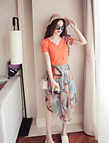 Women's Casual/Daily Simple Summer T-shirt Skirt Suits,Print V Neck Short Sleeve Micro-elastic