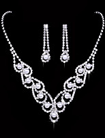 Women's Drop Earrings Choker Necklaces Bridal Jewelry Sets  Fashion Elegant Silver Cubic Zirconia  For Wedding Party