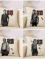 Set Of 4 The Walking Dead Figure Printing Pillow Cover Vintage Square Pillow Case 45*45Cm Sofa Cushion Cover