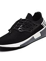 Da uomo scarpe da ginnastica Comoda PU (Poliuretano) Primavera Autunno Sportivo Footing Comoda Lacci Piatto Nero Grigio Piatto