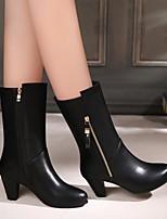Women's Heels Basic Pump Cowhide Winter Casual Basic Pump Chunky Heel Black 2in-2 3/4in
