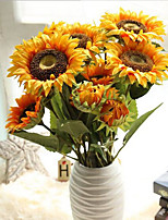 34inch 2 Heads and 1 Bud Silk Polyester Sunflowers Tabletop Flower Artificial Flowers