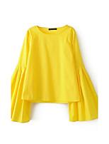 T-shirt Da donna Sensuale Semplice Moda città Estate,Tinta unita Rotonda Cotone Manica lunga Sottile Medio spessore