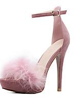 Для женщин Обувь на каблуках Удобная обувь Замша Лето Осень Для праздника Удобная обувь На шпильке Черный Розовый 9,5 - 12 см