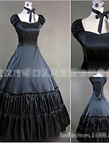 One-Piece/Dress Gothic Lolita Classic/Traditional Lolita Vintage Inspired Cosplay Lolita Dress Black Solid Color Floor-length Skirt Dress