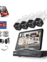 SANNCE® 8CH 4PCS 720P Weatherproof Security System 4IN1 1080P LCD DVR Supported TVI Analog AHD IP Cameras 1TB HDD