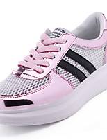 Women's Sneakers Comfort PU Tulle Spring Fall Outdoor Casual Lace-up Flat Heel White/Silver Pink/White Black/Gold 1in-1 3/4in