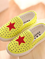 Girls' Flats First Walkers PU Spring Fall Outdoor Casual Walking Magic Tape Low Heel Blue Yellow Black Flat